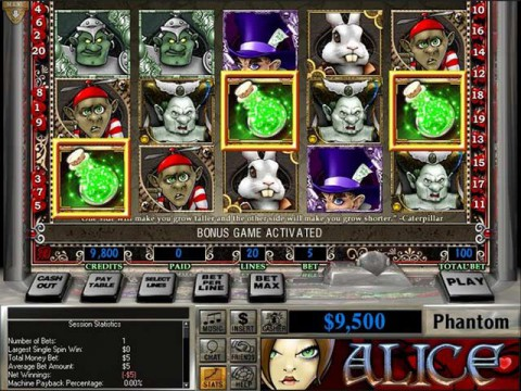 reel deal alice in wonderland slots video poker